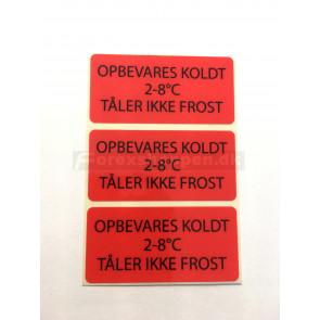 """""""Opbevares koldt. Tåler ikke frost""""-etiket"""